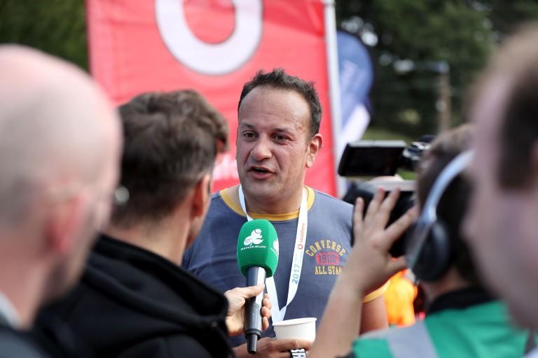 An Taoiseach Leo Varadkar being interviewed after the men's race 27/8/2017
